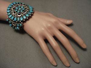 Huge And Old Vintage Navajo Turquoise Native American Jewelry Silver Bracelet-Nativo Arts