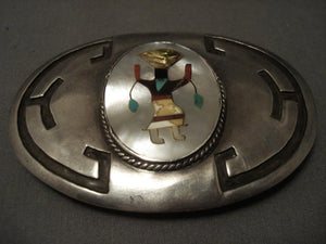 Huge And Rare Vintage Zuni Apache Mntn Dancer Native American Jewelry Silver Buckle-Nativo Arts