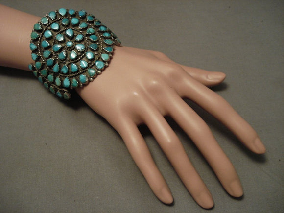 Huge And Very Old Navajo Native American Jewelry jewelry Green And Blue Turquoise Bracelet-Nativo Arts