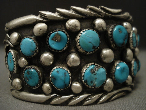 Huge And Wide Old Navajo Turquoise Native American Jewelry Silver Bracelet-Nativo Arts