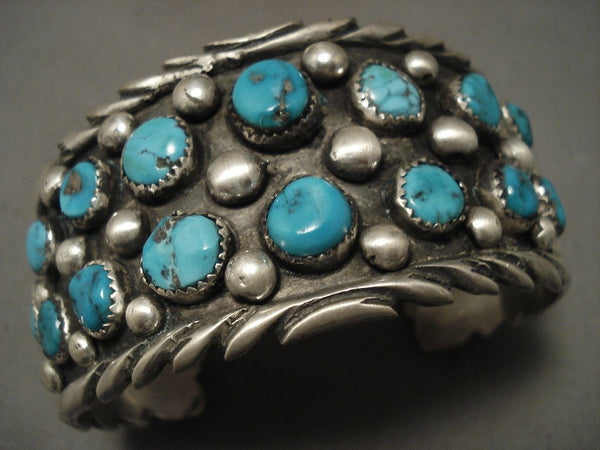 Huge And Wide Old Navajo Turquoise Native American Jewelry Silver Bracelet
