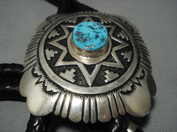 Huge Authentic Vintage Native American Jewelry Navajo Thomas Singer Turquoise Sterling Silver Bolo Tie-Nativo Arts