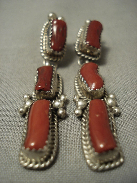 Huge Chunk Coral Vintage Navajo Sterling Native American Jewelry Silver Earrings-Nativo Arts
