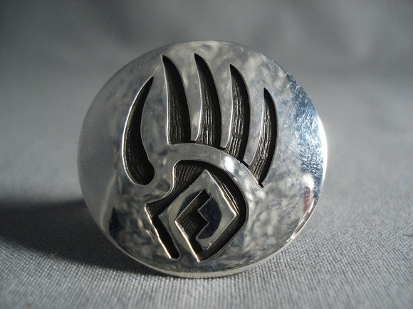 Huge Circular Vintage Navajo Native American Jewelry Silver Sterling Ring-Nativo Arts