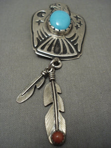 Navajo Silver Eagle Pendant with Turquoise Coral Feathers