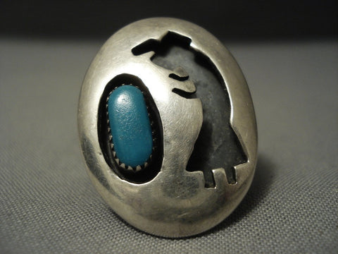 Huge Domed Yeibichai Turquoise Vintage Navajo Sterling Native American Jewelry Silver Ring-Nativo Arts