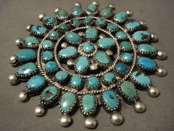 Huge Early Vintage Zuni/ Navajo Turquoise Star Native American Jewelry Silver Pin-Nativo Arts