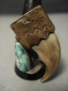 Huge Green Old Kingman Turquoise Vintage Navajo Sterling Native American Jewelry Silver Ring-Nativo Arts