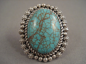 Huge Green Spiderweb Turquoise Sterling Native American Jewelry Silver Tso Family Ring-Nativo Arts