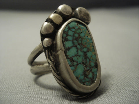 Huge Green Turquoise Vintage Navajo Sterling Native American Jewelry Silver Bear Paw Ring Old-Nativo Arts