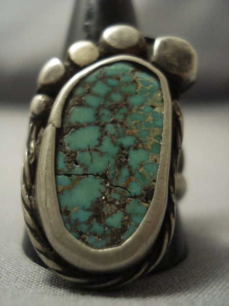 Huge Green Turquoise Vintage Navajo Sterling Native American Jewelry Silver Bear Paw Ring Old