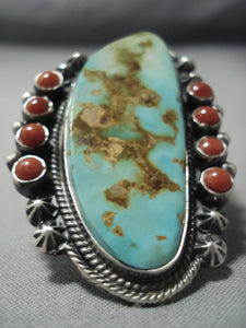 Huge Hem Brown Vintage Navajo Royston Turquoise Sterling Native American Jewelry Silver Ring-Nativo Arts