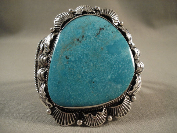 Huge Huge Huge Old Navajo Deep Blue Sea Turquoise Native American Jewelry Silver Bracelet Old-Nativo Arts