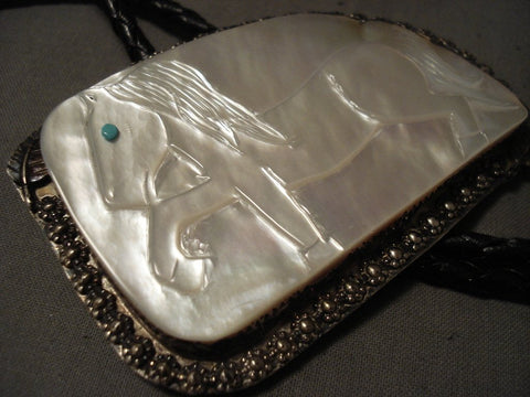 Huge Huge Men's Pearl Turquoise Native American Jewelry Silver Bolo Tie Old-Nativo Arts