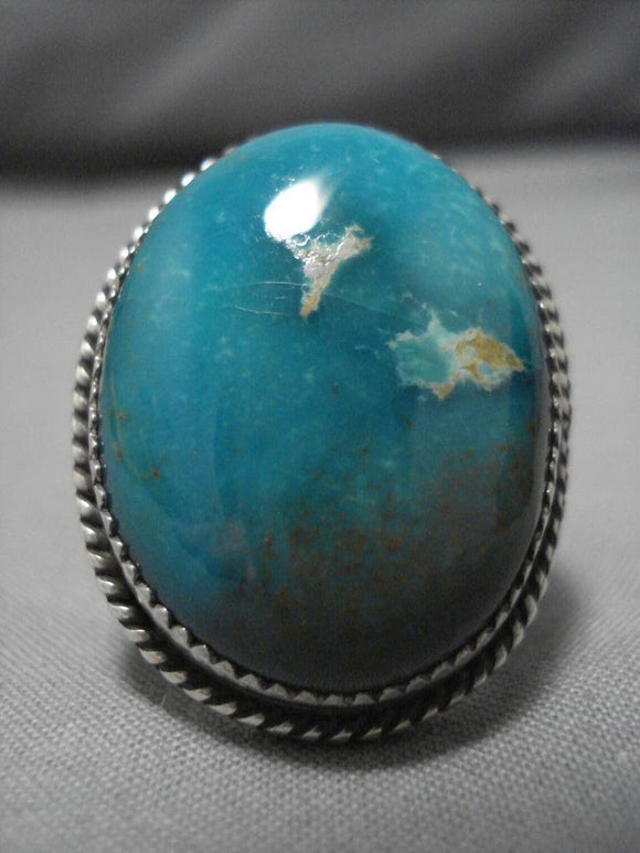 Huge Huge! Vintage Navajo Royston Turquoise Native American Sterling Silver Ring-Nativo Arts