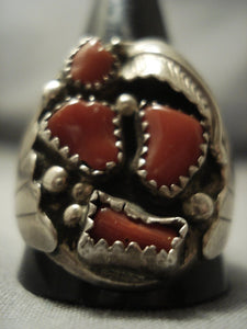 Huge Men's Vintage Navajo Coral Sterling Native American Jewelry Silver Ring Old Pawn-Nativo Arts