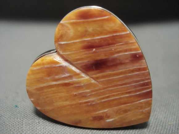 Huge Modernistic 'Art Is Love' Orange Shell Heart Native American Jewelry Silver Navajo Ring-Nativo Arts