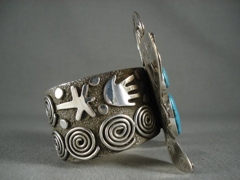 Huge Modernistic Navajo Native American Jewelry Silver Turquoise Bracelet-Nativo Arts