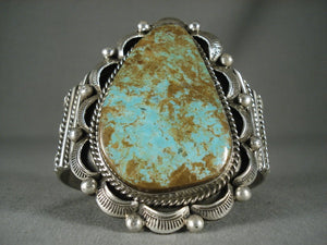 Huge Modernistic Navajo Natural Green Turquoise Native American Jewelry Silver Bracelet-Nativo Arts