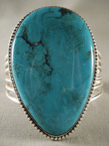Huge Modernistic Navajo Spiderweb Turquoise Native American Jewelry Silver Bracelet-Nativo Arts