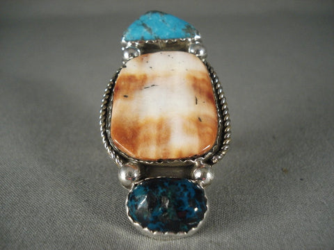 Huge Modernistic Navajo Spiny Oyster Native American Jewelry Silver Turquoise Ring-Nativo Arts