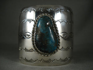 Huge Modernistic Navajo Turquoise Native American Jewelry Silver Wide Bracelet-Nativo Arts