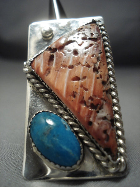 Huge Modernistic Navajo Whitegoat Turquoise Sterling Native American Jewelry Silver Ring