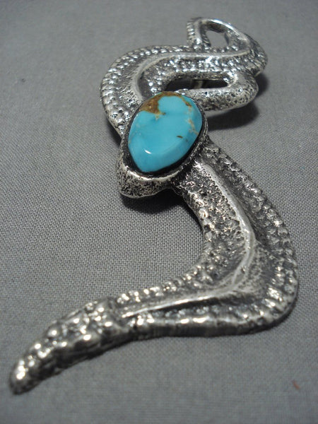 Huge Native American Jewelry Navajo Turquoise Sterling Silver Snake Pendant-Nativo Arts