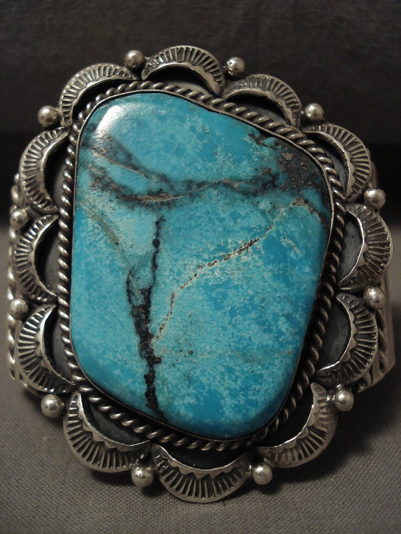 Huge Navajo Blue Diamond Turquoise Native American Jewelry Silver Bracelet-Nativo Arts