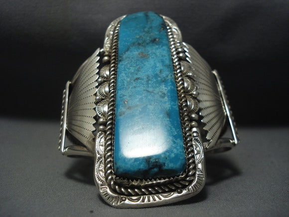 Huge Navajo Blue Diamond Turquoise Sterling Native American Jewelry Silver Bracelet-Nativo Arts
