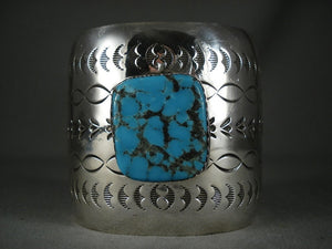 Huge Navajo Spiderweb Turquoise Native American Jewelry Silver Bracelet-Nativo Arts