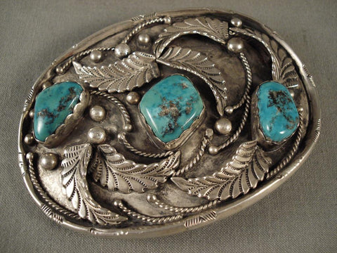 Huge Old Men's Navajo Native American Jewelry jewelry Turquoise Vintage Buckle-Nativo Arts