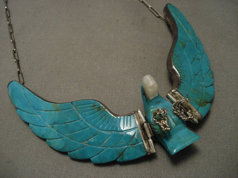 Huge Old Navajo operable Wings Turquoise Native American Jewelry Silver Necklace-Nativo Arts