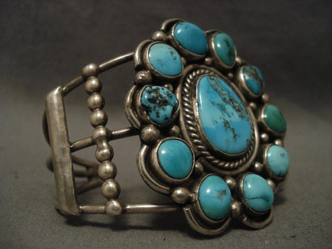 Huge Old Vintage Navajo Satellite Turquoise Native American Jewelry Silver Bracelet-Nativo Arts