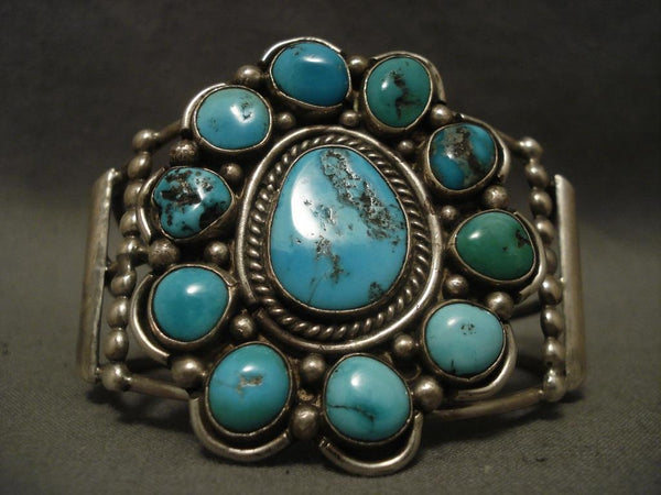Huge Old Vintage Navajo Satellite Turquoise Native American Jewelry Silver Bracelet