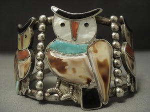 Huge Owl Vintage Zuni Turquoise Sterling Native American Jewelry Silver Bracelet Cuff-Nativo Arts