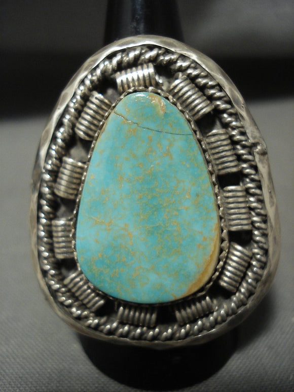 Huge Tso Family Royston Turquoise Native American Jewelry Silver Ring-Nativo Arts