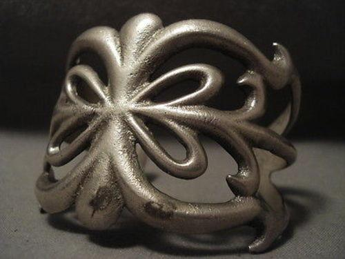 HUGE VERY OLD NAVAJO EARLIER 1900'S SILVER BRACELET-Nativo Arts