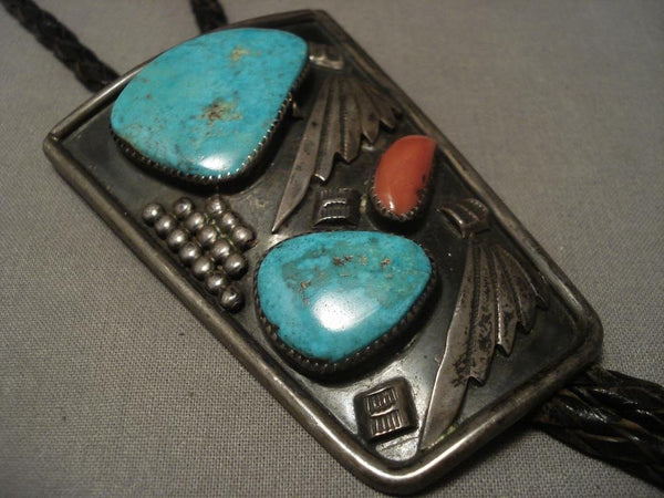 Huge Vintage early Easter Blue Turquoise Bolo Tie