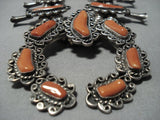 Huge Vintage Native American Jewelry Navajo Sterling Silver Coral Squash Blossom Necklace Old-Nativo Arts