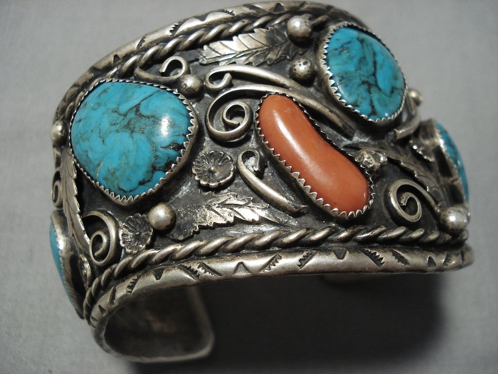sterling silver Vintage turquoise and coral cuff