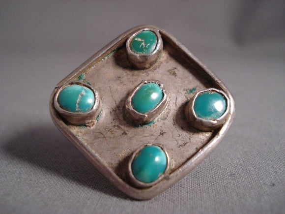 Huge Vintage Navajo '5 Senses' Domed Turquoise Native American Jewelry Silver Ring Old-Nativo Arts