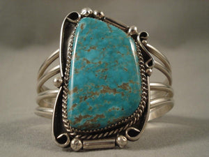 Huge Vintage Navajo #8 Turquoise Native American Jewelry Silver Bracelet-Nativo Arts
