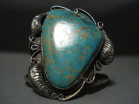 Huge Vintage Navajo #8 Turquoise Sterling Native American Jewelry Silver Bracelet Old-Nativo Arts