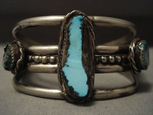 Huge Vintage Navajo 'Bisbee & Royston Turquoise' Native American Jewelry Silver Bracelet-Nativo Arts