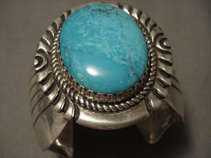 Huge Vintage Navajo Blue Diamond Turquoise Native American Jewelry Silver Bracelet Old-Nativo Arts