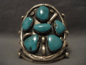 Huge Vintage Navajo Blue Moon Turquoise Native American Jewelry Silver Bracelet-Nativo Arts