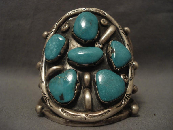 Huge Vintage Navajo Blue Moon Turquoise Native American Jewelry Silver Bracelet