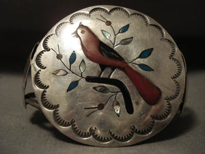 Huge Vintage Navajo Cardinal And Branch Native American Jewelry Silver Coral Bracelet Old-Nativo Arts