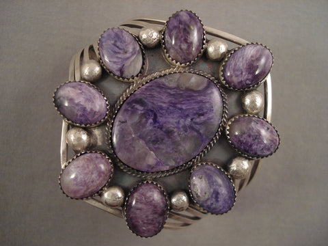 Huge Vintage Navajo Charoite Sterling Native American Jewelry Silver Bracelet Old Pawn-Nativo Arts